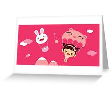 Pink Kawaii girl illustration Greeting Card