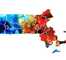 Massachusetts - Map Counties By Sharon Cummings by Sharon Cummings