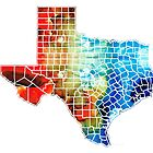 Texas Map - Counties By Sharon Cummings by Sharon Cummings
