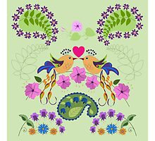 Love Birds Leaves and Flowers by walstraasart