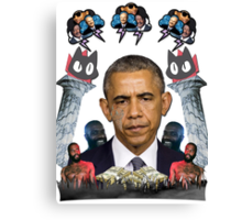 mc obama [featuring dr phil, lil b, and mathew knowles in a cloud] Canvas Print