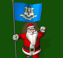 Santa Claus With Flag Of Connecticut by Mythos57