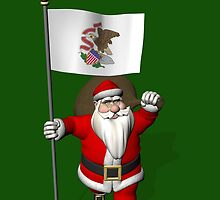 Santa Claus With Flag Of Illinois by Mythos57