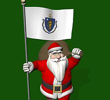 Santa Claus With Flag Of Massachusetts by Mythos57