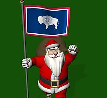 Santa Claus With Flag Of Wyoming by Mythos57