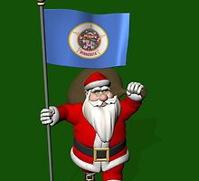 Santa Claus With Flag Of Minnesota by Mythos57