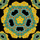 Psychedelic jungle kaleidoscope ornament 3 by Andrei Verner