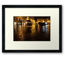 Golden Glow - Night on the Spanish Steps Piazza in Rome, Italy Framed Print