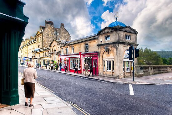 Shopping on Pulteney Bridge - Bath, England by Mark Tisdale