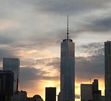 One World Trade Center from Brooklyn Bridge at sunset - New York City by Olivia Son