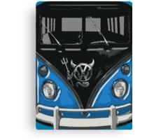 Blue Camper Van With Devil Emblem Art Canvas Print