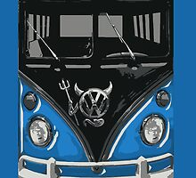 Blue Camper Van With Devil Emblem Art by funandhappy