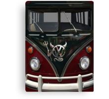 Maroon Camper Van With Devil Emblem Canvas Print