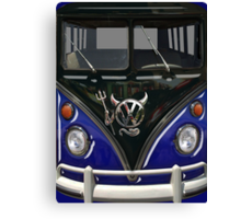 Navy Blue Camper Van With Devil Emblem Canvas Print