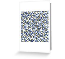 Watercolor Blue berries, branches pattern,ornament Greeting Card