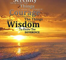 Serenity Prayer With Sunset By Sharon Cummings by Sharon Cummings