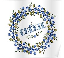 Watercolor Blue berris  branches wreath Poster