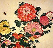 'Chrysanthemum and Bee' by Katsushika Hokusai (Reproduction) by Roz Abellera Art