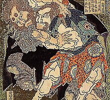 'Sumo Wrestlers' by Katsushika Hokusai (Reproduction) by Roz Abellera Art Gallery