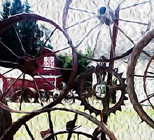 Rustic Photo of Vintage Wheel Fence by griffingphoto