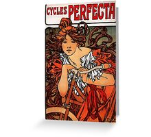 'Cycles Perfecta' by Alphonse Mucha (Reproduction) Greeting Card