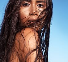 Sensual beauty portrait of young exotic woman with long wet dark hair art photo print by ArtNudePhotos