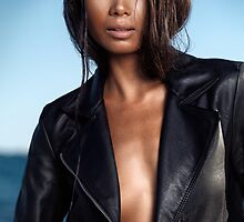 Sexy young woman in black leather jacket on shiny bare skin art photo print by ArtNudePhotos