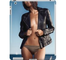 Sexy young woman in leather jacket over half-naked body at the beach art photo print iPad Case/Skin