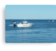A large boat on its way out to sea for some fishing- Werribee Sth. Canvas Print