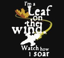 Leaf on the wind (white text) Kids Clothes