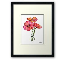 Peach & Pink Poppy Tangle Framed Print
