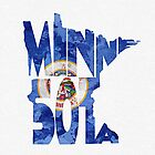 Minnesota Typographic Map Flag by A. TW