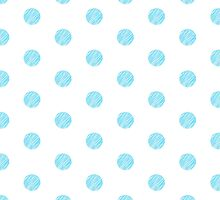 Blue Polka Dot Pattern on White Background by amovitania