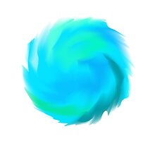 Blue Round Painted Dynamic Form by amovitania