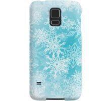 Chaotic Christmas Snowflakes on Blue Background Samsung Galaxy Case/Skin