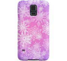 Chaotic Snowflakes on Lilac Background Samsung Galaxy Case/Skin