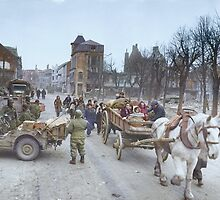 Refugees evacuating the Belgian town of Bastogne, 1944, colorized by Sanna Dullaway
