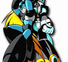 MegaX & Zero (Color & White Backgrounds) by WCPerryAndrez