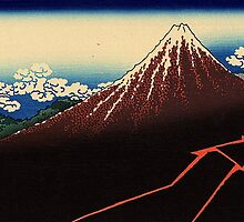 'Lightning Below the Summit' by Katsushika Hokusai (Reproduction) by Roz Abellera Art