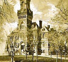 A digital painting of  the City Hall, 408 Broadway, Kingston, Ulster County, New York, 1896. by Dennis Melling