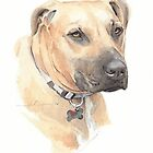 Big dog close-up watercolor by Mike Theuer