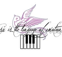 Music is the Language of Emotion - Piano Keys by Vannara San