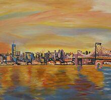Golden Manhattan Skyline with One World Trade Center and Manhattan Bridge  by artshop77