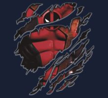 Red Ninja chest ripped torn tee Kids Clothes