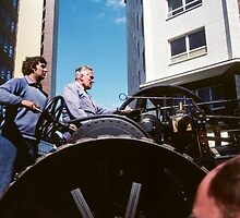 Drivers of traction engine Traction Display Birmingham England 198405130015 by Fred Mitchell