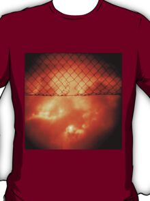 Wire mesh fence against stormy sky silver gelatin black and white medium format 120 6x6 negative analog film photo in sepia tones T-Shirt