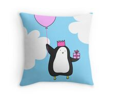 Penguin with Balloon Throw Pillow