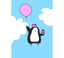 Penguin with Balloon Photographic Print