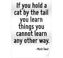 If you hold a cat by the tail you learn things you cannot learn any other way. Poster