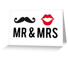 Mr and Mrs, text design with mustache and red lips Greeting Card